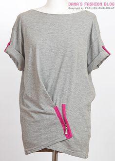 Fashion DIY Tutorial – T-Shirt Drapierungen mit Reißverschluss, zusätzlich mit pinken Zipper an den Ärmeln