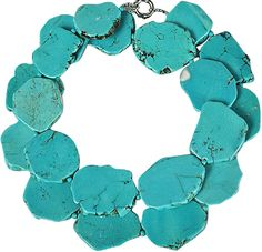 Jane Stone Long Turquoise Color Stone Necklace, Statement Bluish Green Necklace (Fn0506) * Review more details here