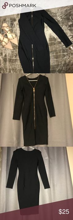 Full Zip Long Sleeve Black Dress one of my FAVORITES !! this dress molds the body nice and firm due to its thick material. My personal fav combo for this dress is an everything rose gold/gold look *heart eye emoji* Dresses Long Sleeve