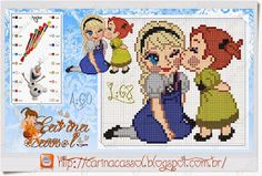 Elsa and Anna - Frozen pattern by Carina Cassol Frozen Cross Stitch, Cross Stitch Rose, Cross Stitch Baby, Frozen Disney, Baby Disney, Anna Frozen, Disney Stitch, Cross Stitching, Cross Stitch Embroidery