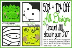 50% + 10% Off Discount applies to all Machine Embroidery Sets ~ Fonts, Monograms, Applique and Templates SALE ends @ Midnight on 10/31/14 It works like this...1) Login to your Account, 2) Add embroidery design sets to your cart, 3) 50% off will be automatically applied, 4) If you're a Repeat Customer, another 10% off will be automatically applied. All discounts are applied in your cart and the Discount line shows your Savings ~ ENJOY!!