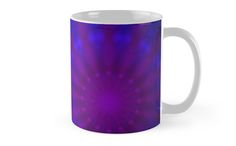 Mug with a geometric blue and purple pattern on a black background, with symmetric rays forming a concentric abstract representation / Copyright: Escarpatte Radial Pattern, Purple Pattern, Coffee Time, Beautiful Day, Black Backgrounds, I Am Awesome, Cool Designs, Things To Come, Ceramics