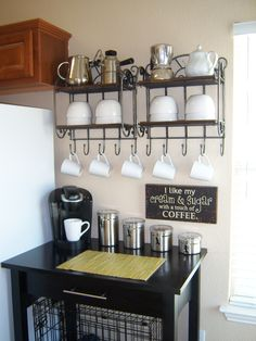 coffee station-shelving is narrow enough to hang on my wall