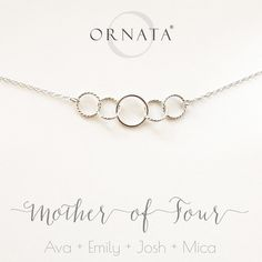 """Mother of Four"" Personalized Sterling Silver Necklace 