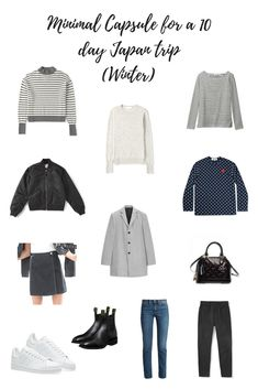 How to travel with a minimal capsule wardrobe. Japan Winter Fashion, Winter In Japan, Japan Spring, Capsule Wardrobe, Travel Wardrobe, Travel Outfits, Minimalist Winter Outfit, Minimalist Fashion, Minimalist Style
