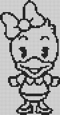 Alpha friendship bracelet pattern added by daisy disney cute cutie duck. Cross Stitch Charts, Cross Stitch Designs, Cross Stitch Patterns, Alpha Patterns, Craft Patterns, Hand Embroidery Patterns, Cross Stitch Embroidery, Crotchet Blanket, Gata Marie