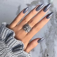 "13.3k Likes, 96 Comments - KLAUDIA BADURA (@klaudiabadura) on Instagram: ""Grey ✨#notd #nails #realnails #greynails #longnails #style #grey"""