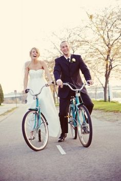 bicycles for the happy bride and groom