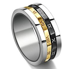 Gold Silvery Black Spinner Stainless Steel Roman Numerals Mens Womens Ring * For more information, visit image link. Roman Numeral Ring, Roman Numerals, Ring Clock, Fitness Watches For Women, Men's Jewelry Rings, Jewelery, Spinner Rings, Titanium Rings, Stainless Steel Jewelry
