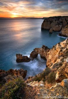 Portugal dusk - The Algarve coast in Portugal is a fantasy landscape of caves, grottoes and sea arches that nature has sculpted from the cliffs over thousands of years. | by Stephen Emerson on 500px