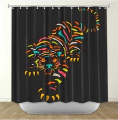 Tiger Brown By Jazzberry Blue Fabric Shower Curtain Curtains Bathroom