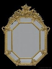 A Fine Louis XVI Style Carved Marginal Framed Hexagonal Mirror