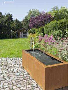 ... Beautiful Gardens, House Extensions, Waterfall, Fonts, Crates, Deck,  Water Fountains, Water Games, Corten Steel, Garden Modern, Little Gardens,  ...