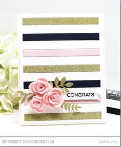 Stamps: More Essential Sentiments Die-namics: Mini Rolled Roses, Fab Foliage, A2 Rectangle STAX Set 1, Bold Stripes Cover-Up Essential Fishtail Sentiment Strips Jodi Collins #mftstamps