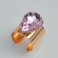Foreign trade jewelry wholesale an style original single female personalized trend rhinestone pink rings