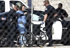 !!! Albuquerque police officers escort accused child-killer Jessica Kelley, 31, out a car and into a wheelchair before rolling her into the Metropolitan Detention Center Friday morning. Kelley reportedly was injured while attempting to flee police after being involved in the death of 10-year-old Victoria Martens earlier in the week. ~ Too bad that that FAT and UGLY worthless BITCH didn't DIE! Well..wait..I'm glad she didn't, because her NIGHTMARE is only beginning, lol! (Dean Hanson/Journal)…