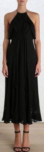 Black Ruffled Silk Halter Dress