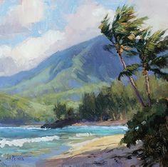 Haena Study by Jenifer Prince, Oil, 8 x 8 Seascape Paintings, Landscape Paintings, Water Paint Art, Hawaii Painting, Hawaiian Art, Watercolor Pictures, Watercolor Projects, Tropical Art, Ocean Art