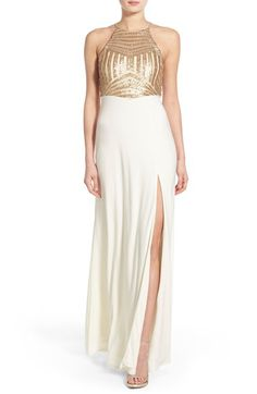 Steppin Out Steppin Out Sequin Halter Gown available at #Nordstrom