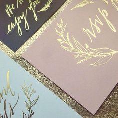 Gold foil #wedding invitations.