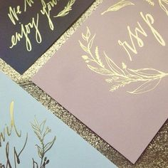 Gold foil #wedding invitations.