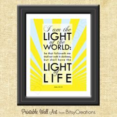 Scripture Light of the World | Light of the World Scripture Subway Art Printable Wall Art by ...