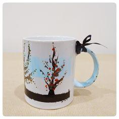hand painted mug, autumn tree