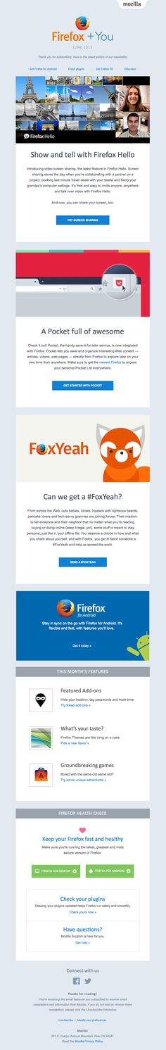 Firefox sent this email with the subject line: So much goodness. Can we get a #FoxYeah? - Firefox's first email is actually their latest newsletter with a little thank you for subscribing. This helps the reader expect what is coming from Firefox each month. The divisions of content are well laid out with just enough to peek the interest to click more. Read about this email and find more newsletter emails at ReallyGoodEmails.com #onboarding #newsletter #welcome