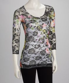 Take a look at this Black Floral Lace Sheer Top by Citi Life on #zulily today!