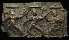 Nepal, Fragment of Mother Goddesses (Matrika) Panel with Varahi, Kaumari, and Chamunda