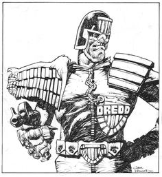 ...and an ink drawing of #dredd.