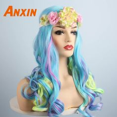 Aliexpress.com : Buy Anxin Sweet Long Wavy Colorful Wigs With Flower Bwoknot Accessories Party Anime Heat Resistant Synthetic Wig For Women Girls from Reliable Synthetic None-Lace Wigs suppliers on anxin Wig Factory Store
