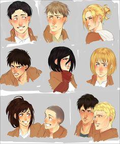 Shingeki no Kyojin - Marco, Jaen, Eren, Armin, Cannie, Bertholdt, Reiner, Mikasa, Annie and Sasha
