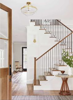September Favorites Whats New Around The House foyer Staircase Railings, Modern Staircase, Grand Staircase, Staircase Design, Staircase Ideas, Spiral Staircases, Interior Stair Railing, Staircase Landing, Staircase Remodel