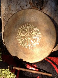 "Native American style frame drum with custom totem and symbology artwork - ""Medicine Wheel""~Beautiful~"