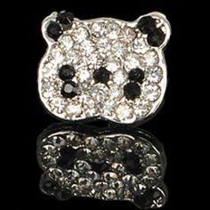 Silver Panda Chic Simple Rhinestone Cute Stud Earrings