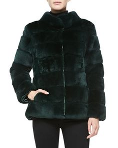 T96J9 Trilogy Sheared Rex Rabbit Jacket, Green