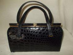 beautiful vintage black glossy Bellstone crocodile handbag by VintageHandbagDreams on Etsy