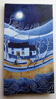 Pryd o dafod by Valériane Leblond Painting On Wood, Painting & Drawing, Art Texture, Art Et Illustration, Driftwood Art, Naive Art, Art Plastique, Art World, Landscape Art