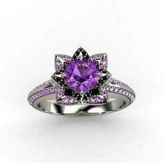 Round Amethyst Palladium Ring with Black Onyx & Amethyst - Brilliant Lotus Ring | Gemvara  2635