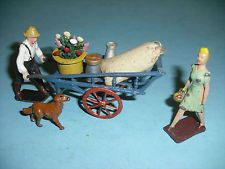 Britains Vintage Lead Flower Sellers Cart with Prodjuce his Dog & Lady Customer Lead Soldiers, Toy Soldiers, Dog Lady, Suffragette, Wheelbarrow, Cart, Female, Flower, Toys