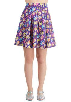 Travel Brightly Skirt. Youve gotten the advice to always pack light - but, you prefer to pachyderm bright with this purple skirt! #purple #modcloth