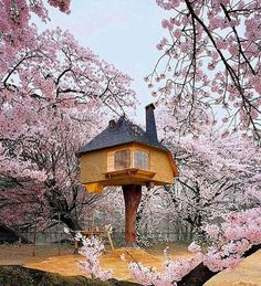 this fairy-tale #treehouse in #hokuto, japan is supported by a single cypress trunk and surrounded by cherry blossom trees. built by architect terunobu fujimori for the kiyoharu shirakaba museum, it is actually a #teahouse and sturdy enough to sway with the tree during stormy weather and through earthquakes. see more fantasy #architecture by #terunobufujimori on #designboom