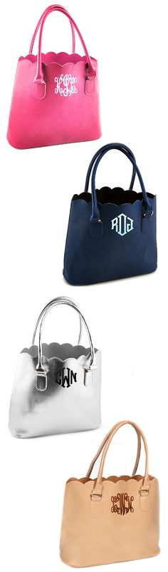 *INTRODUCING* NEW COLORS! Monogrammed Scalloped Tote Purse - Marleylilly.com