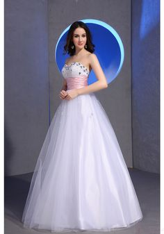 A-line Sweetheart Strapless Crystal White Tulle Waistband Evening Dresses (ED0488)