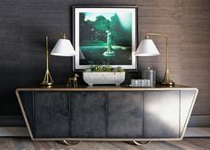 French Country Club Tudor by Summer Thornton Design- always love grasscloth and then there's this credenza - wow