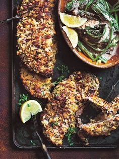 Haloumi and almond crumbed veal schnitzels with a side of creamed spinach for an easy & healthy dinner! Curry Recipes, Beef Recipes, Chicken Recipes, Cooking Recipes, Healthy Recipes, Beef Schnitzel, Schnitzel Recipes, Colcannon Recipe, Creamed Spinach