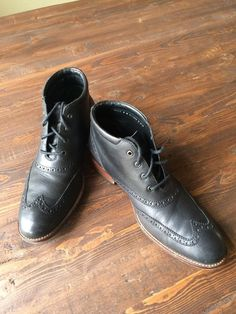 Mens Cole Haan Wingtip Leather Lace Up Dress Boots Black Size 8 MSRP $248 #ColeHaan #WingTipBoots