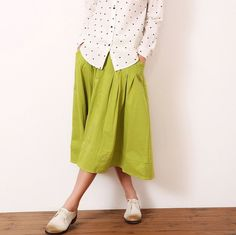Candy colors! New spring summer women elastic waist pleated skirt solid colors loose linen+cotton casual skirts free size