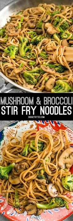 With just a few ingredients you can make these easy and delicious Mushroom Broccoli Stir Fry Noodles for a fast weeknight dinner. BudgetBytes.com Stir Fry Pasta, Stir Fry Noodles, Broccoli Stir Fry, Rice Noodles, Carrot Noodles, Broccoli Dishes, Garlic Noodles, Vegetable Dishes, Vegetarian Recipes